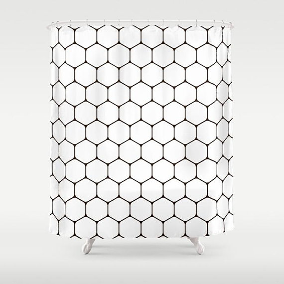 Black And White Shower Curtain Modern Bathroom Tile Print Geometric C