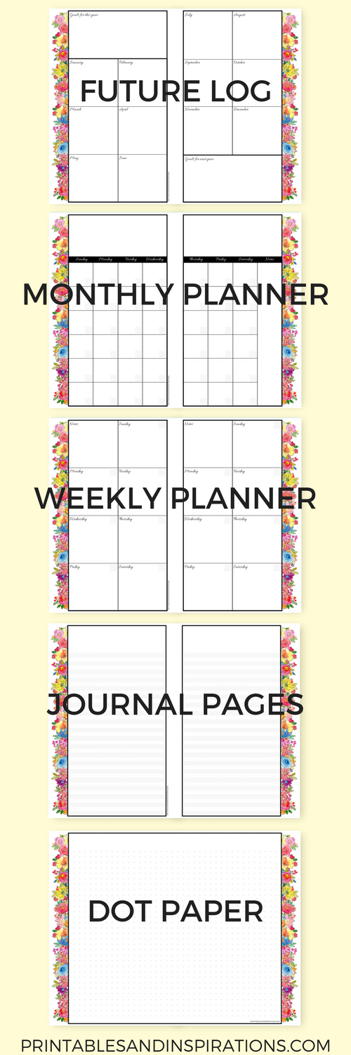 free printable 2018 planner mini planner in floral design with