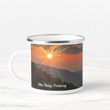 Sunrise Sun Star Blue Ridge Parkway Enamel Camper Mug | Zazzle.com