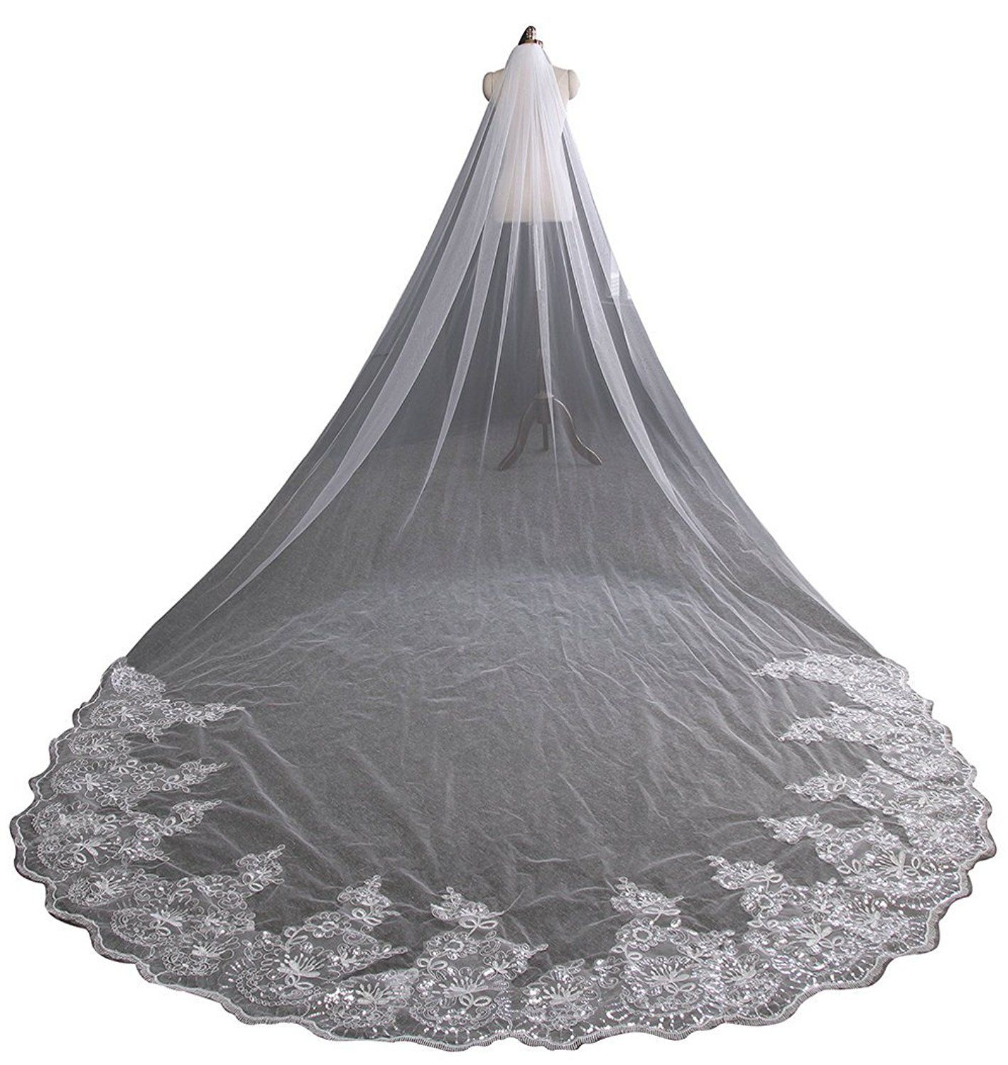 MisShow 4M Ivory Sequines Lace Cathedral Veil Bridal