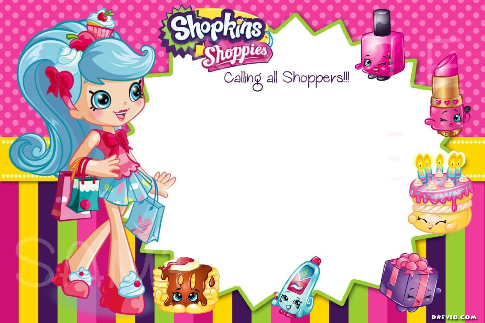 photo regarding Shopkins Printable Invitations identify Up-to-date - Free of charge Printable Shopkins Birthday Invitation