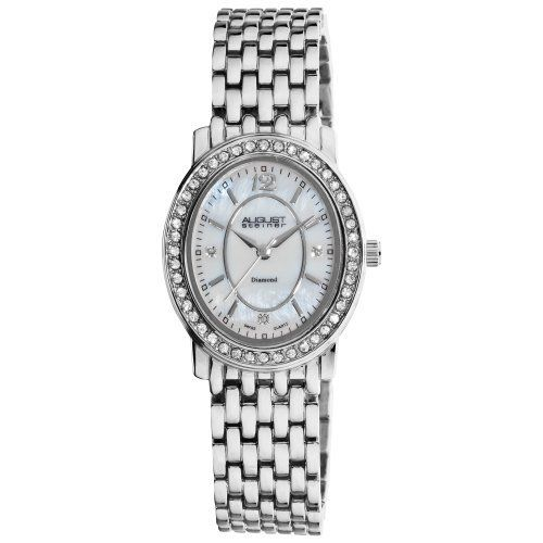 August Steiner Women's AS8043SS Dazzling Diamond Oval Bracelet Watch August Steiner. $63.00. White Mother-Of-Pearl dial. Water-resistant to 10 M (33 feet). Swiss quartz isa 326/1301 movement. Genuine crystal filled bezel. Diamonds adorn the dial at the 3,6 & 9 o'clock positions