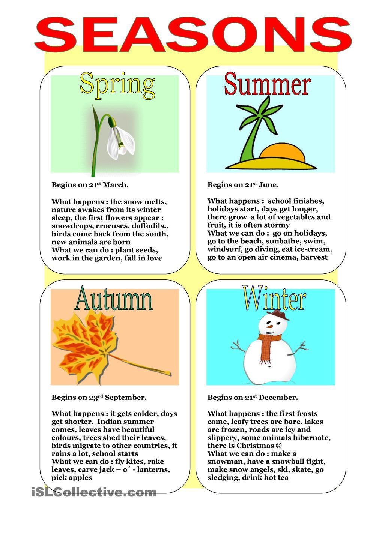seasons seasons the weather seasons worksheets english language learners english lessons. Black Bedroom Furniture Sets. Home Design Ideas