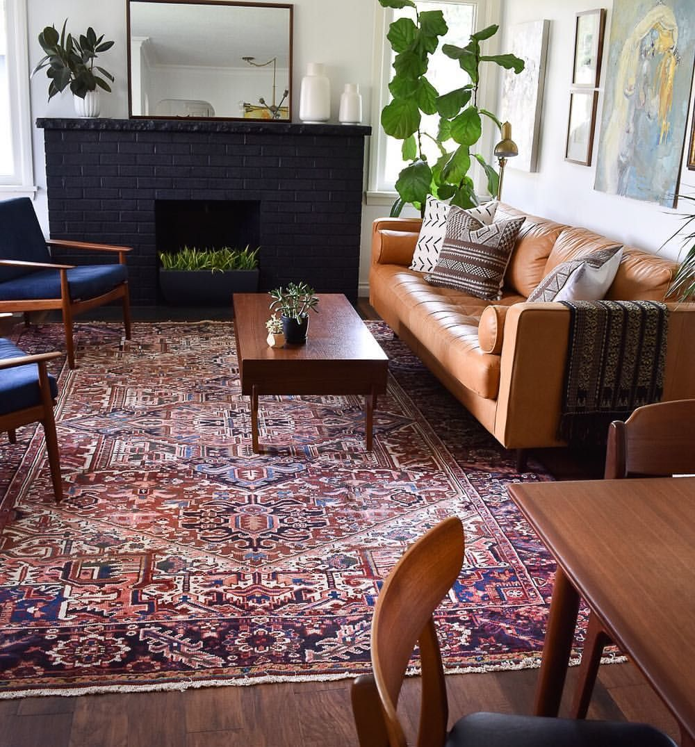 Bold Persian Rug With Some Mid Century Modern Furniture Rugs In Living Room Living Decor Farmhouse Furniture