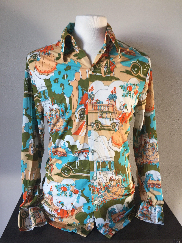 6714142a3a43 Vintage Mens Graphic Print Novelty Shirt 1970s 'Salvatore Ferragamo Style' Shirt  70s Classic Hollywood Mod Beatles Yellow Submarine Shirt