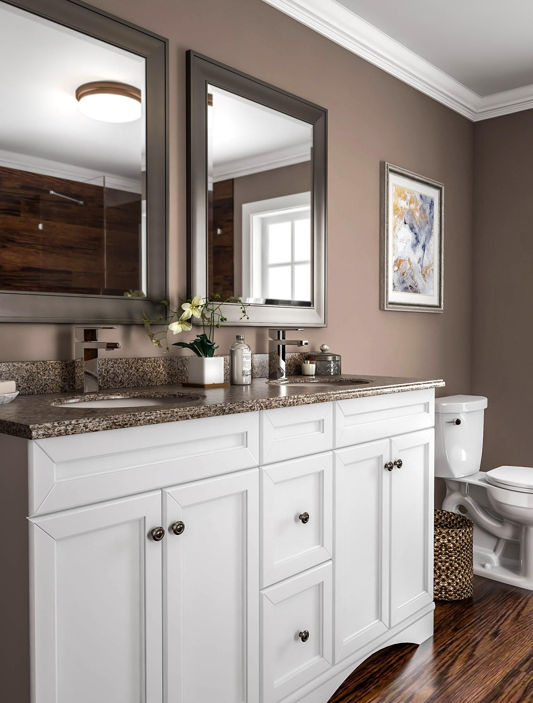 Coffee Colored Bathroom With Shaker Vanity Small Bathroom Remodel Bathrooms Remodel Bathroom Remodel Master Durable paint for bathrooms