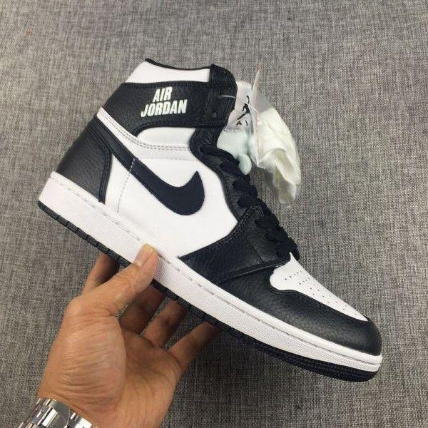 buy genuine mens air jordan 1 high air black white rare  e43f40ab0