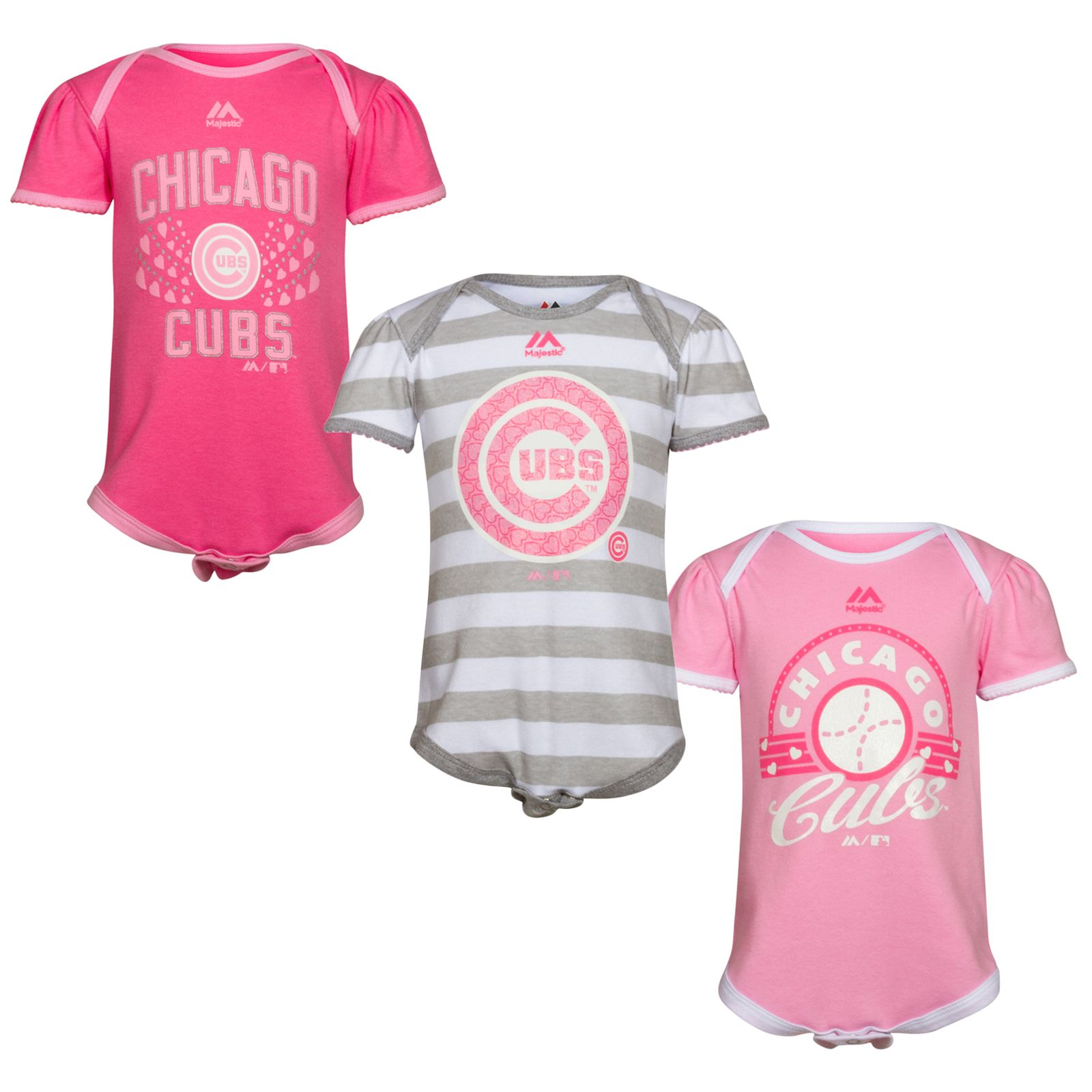 Chicago Cubs Infant Pink esie Three Pack by Outerstuff Chicago