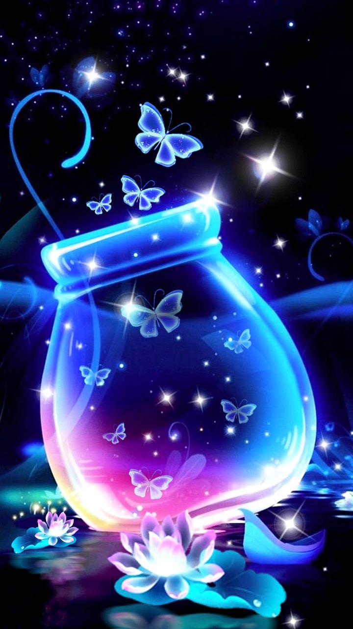 Neon color butterflies in a jar. Fantasy fairy tale ...