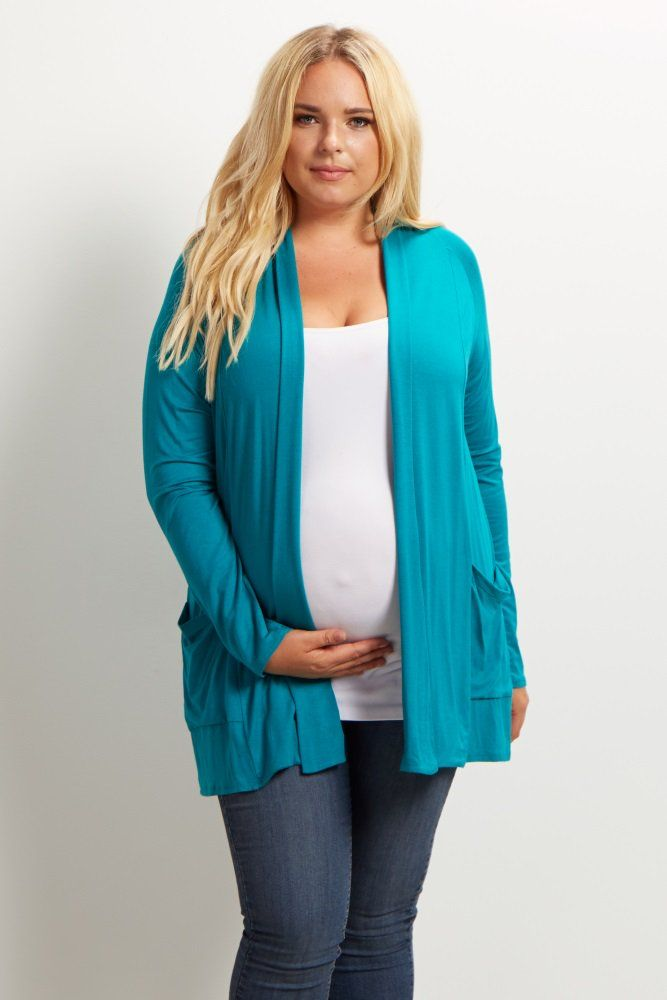 8af1e3c85785d A solid plus size maternity cardigan. Long sleeve. Front pockets. Open front .