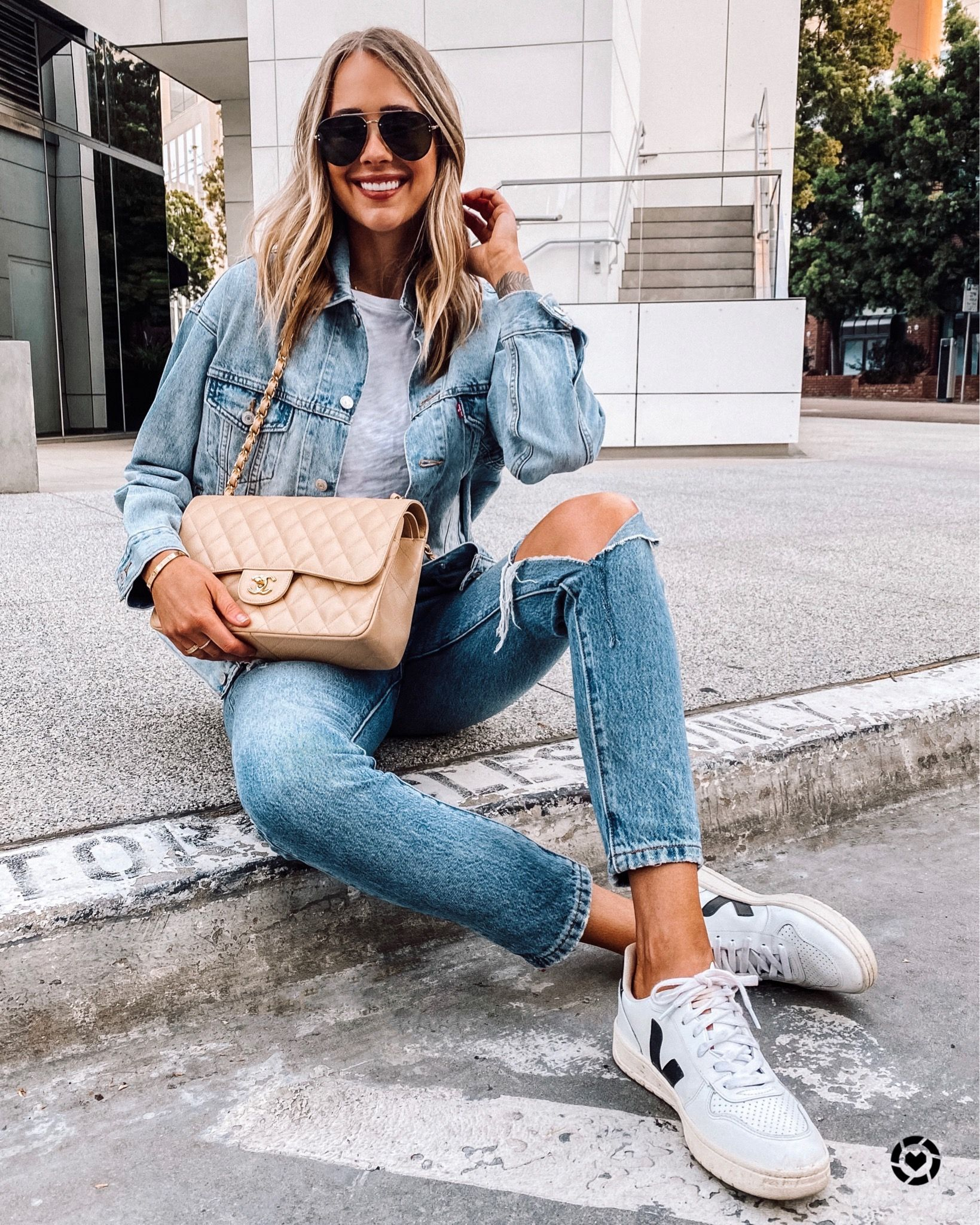 Jean Jacket Outfit Jeans And Jean Jacket Jeans And Denim Jacket Ripped Jeans And Jean Jacket Fashion Jackson Casual Weekend Outfit Adidas Outfit Women [ 2048 x 1639 Pixel ]