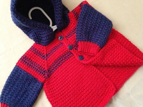 Red and Blue Crochet Baby Boy Sweater with Hood - 0-6 Months in ...