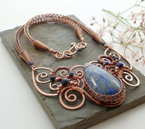 Oceanus  Lapis Lazuli and Copper Necklace by Abbyjewellery on Etsy