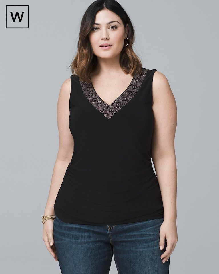 fa1a29100c0ef5 Women's Plus Embroidered-Neckline Tank by White House Black Market ...