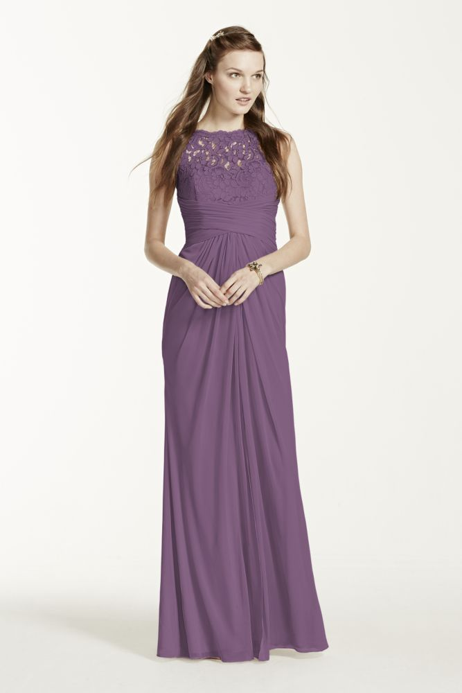 Extra Length Mesh Bridesmaid Dress with Corded Lace - Wisteria ...