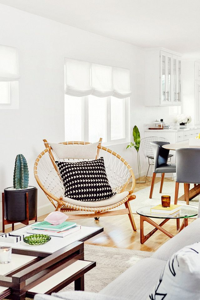 Bon Bohemian Inspired Bright Living Space With An Indoor Cactus, A Wooden  Circle Chair And A Midcentury Modern Table #PapasanChair