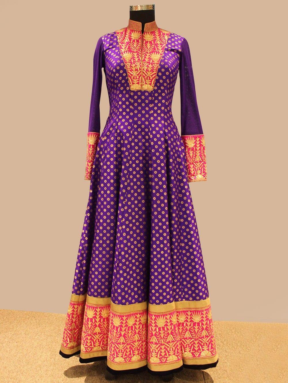 Purple Brocade Silk Anarkali Suit With Handwork | Saree designs, Diwali  fashion, Silk anarkali suits