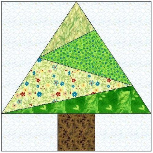 Paper Pieced Christmas Tree Pattern: Crazy Tree Paper Piecing Quilt Block