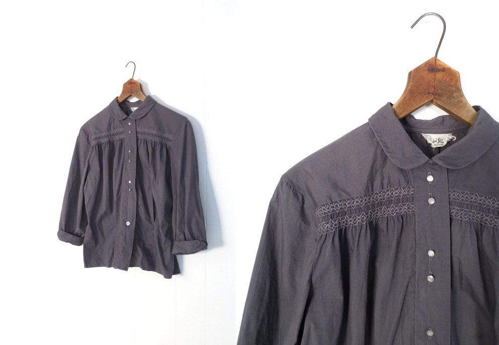 Vintage 1950s Blouse / Smocked Blouse / 50s Blouse / Pewter Gray / L XL. $34.00, via Etsy.