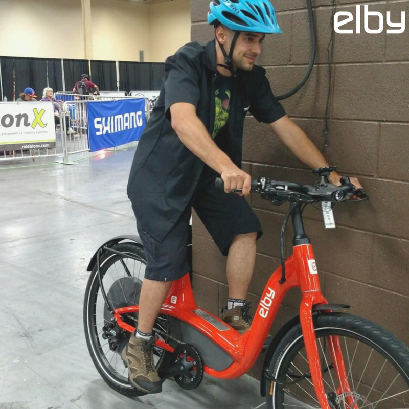 #Interbike attendants, have you checked out the indoor circuit test track? Matt from BionX took #ElbyBike for a spin today! #WYMTM