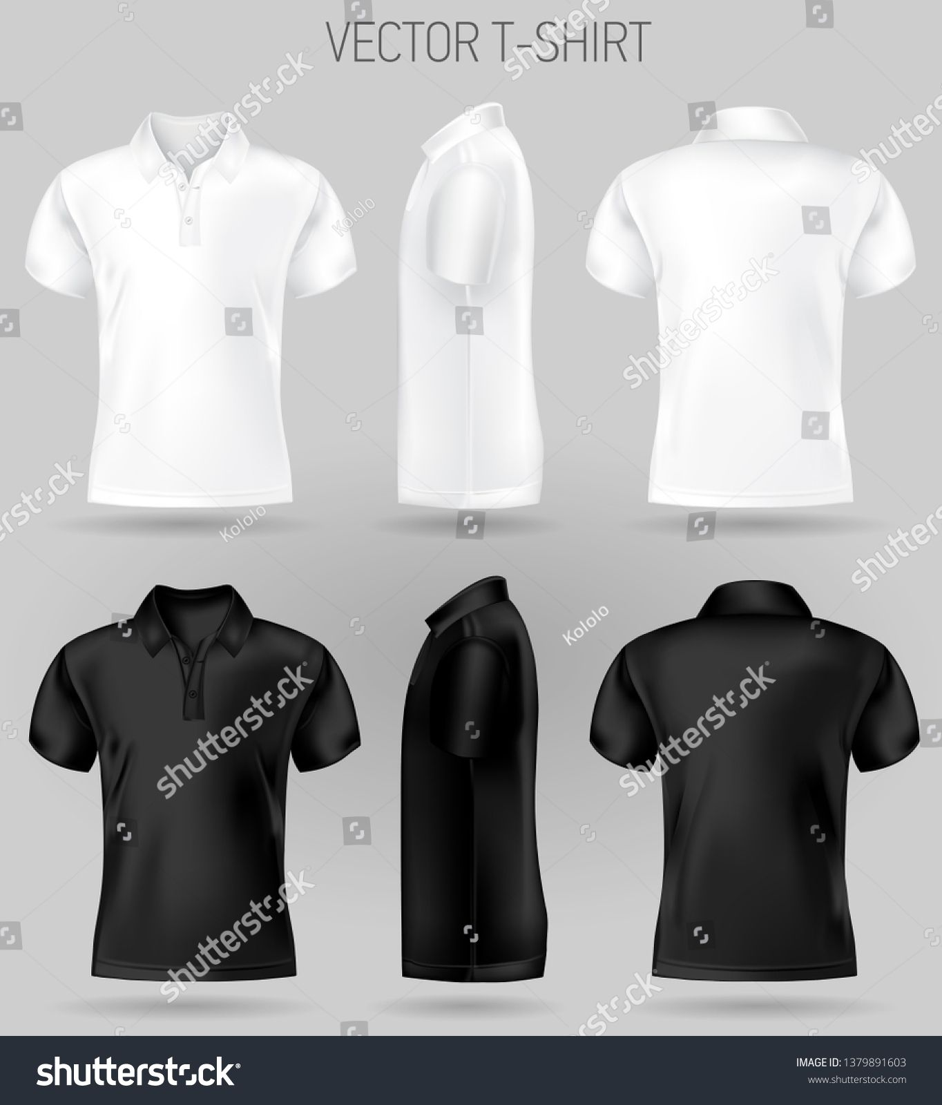 Download Black And White Short Sleeve Polo Shirt Design Templates Front Back And Side Views Vecto Polo Shirt Design T Shirt Design Template Short Sleeve Polo Shirts