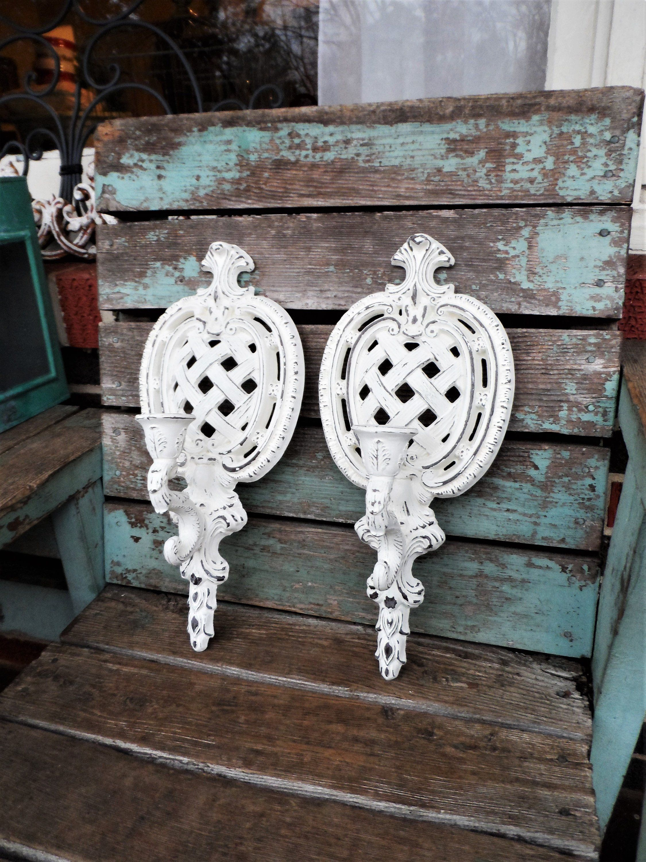Vintage Shabby Chic Candle Holders Candelabra Wall Sconce Set Etsy Shabby Chic Candle Shabby Chic Candle Holders Distressed Candle Holders