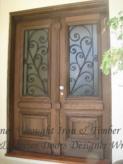Designer Wrought Iron Timber Front Entry Doors Front Entry