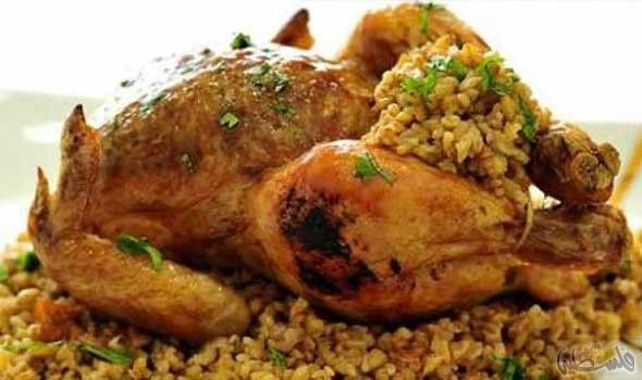 طريقة تحضير دجاج محشي بالفريك داخل الفرن Recipes Food Chicken