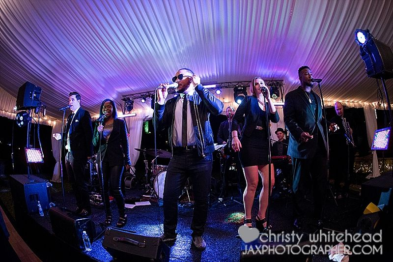 Rivertown Band at Epping Forest Yacht Club    Jewish wedding at Epping Forest Yacht Club.    Photography by Christy Whitehead Photography.   Planning & Design: Southern Charm Events  Video: Drawn in Media  Makeup for the girls: Erin Wernish   Flowers by Parkers Events  Uplighting: Party Solutions  Band: The Rivertown Band
