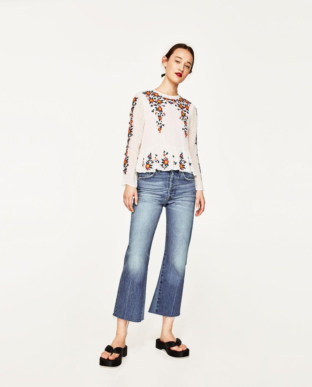 03dec6d9 ZARA - WOMAN - EMBROIDERED PLUMETIS BLOUSE Zara Women, All About Fashion,  Blue Jeans
