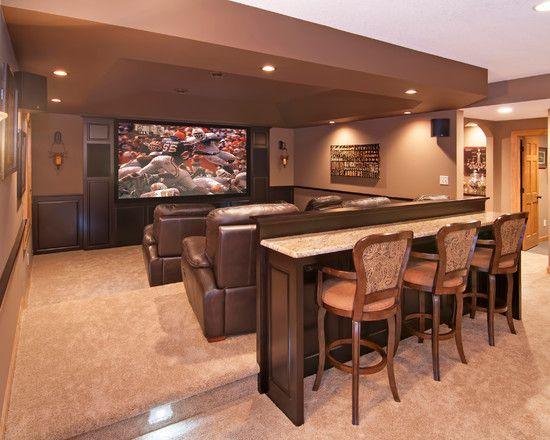 Bar Table Entertainment Room Ideas For Home Theater Also Elegant Brown