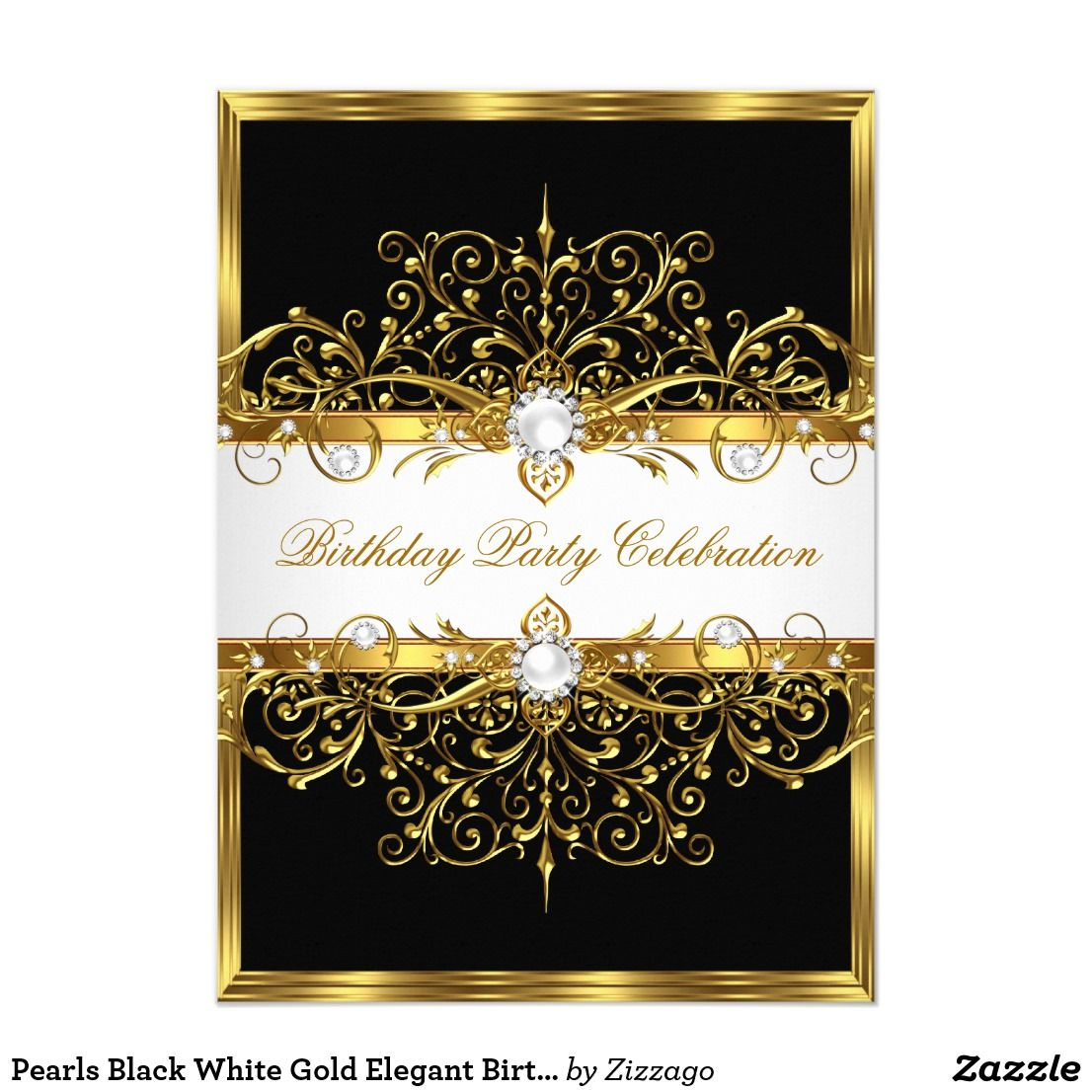 Happy birthday sign in elegant black script type with ornament - Pearls Black White Gold Elegant Birthday Party Card Pearl Black White Gold Elegant Birthday Party