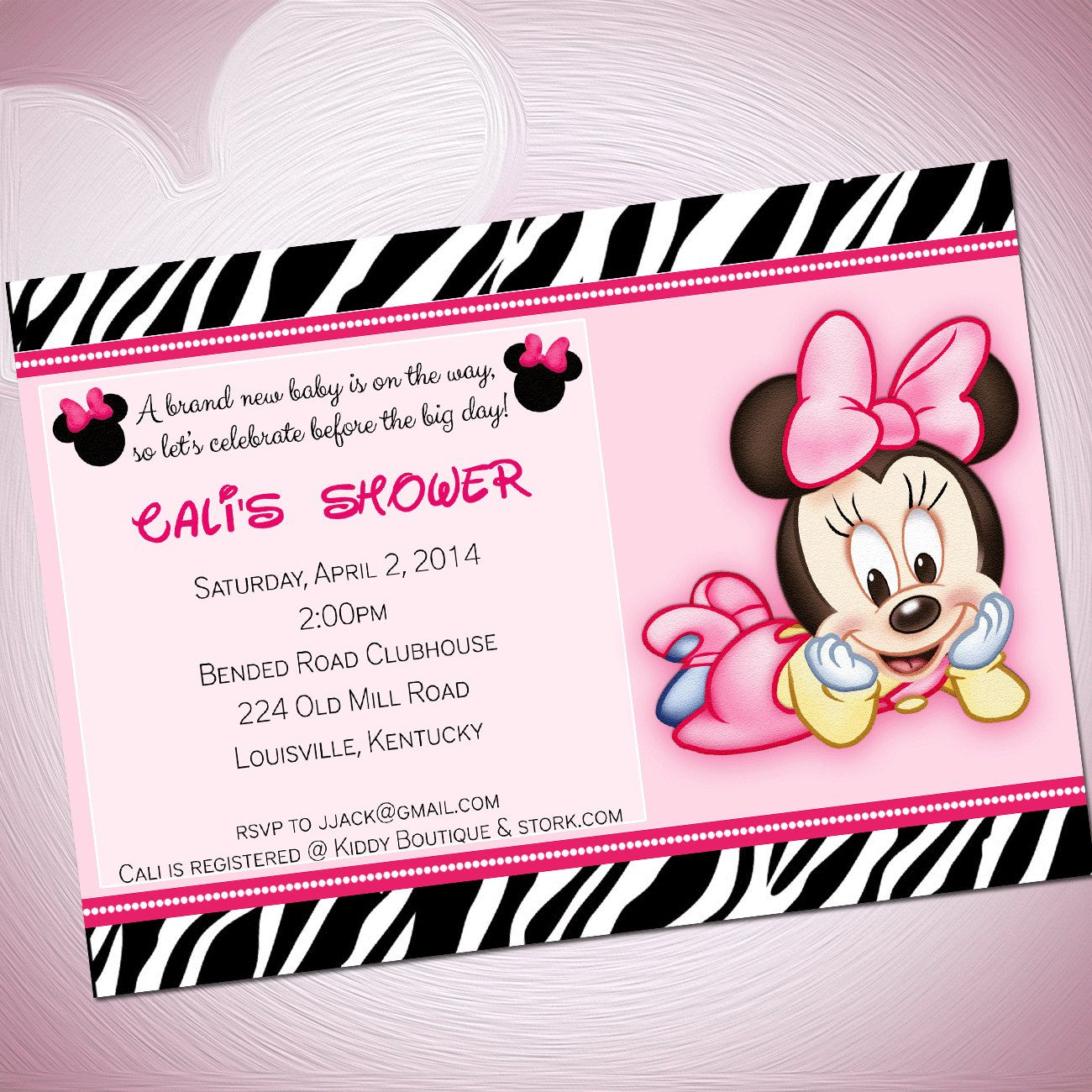 Download FREE Template Cute Minnie Mouse Baby Shower Invitations