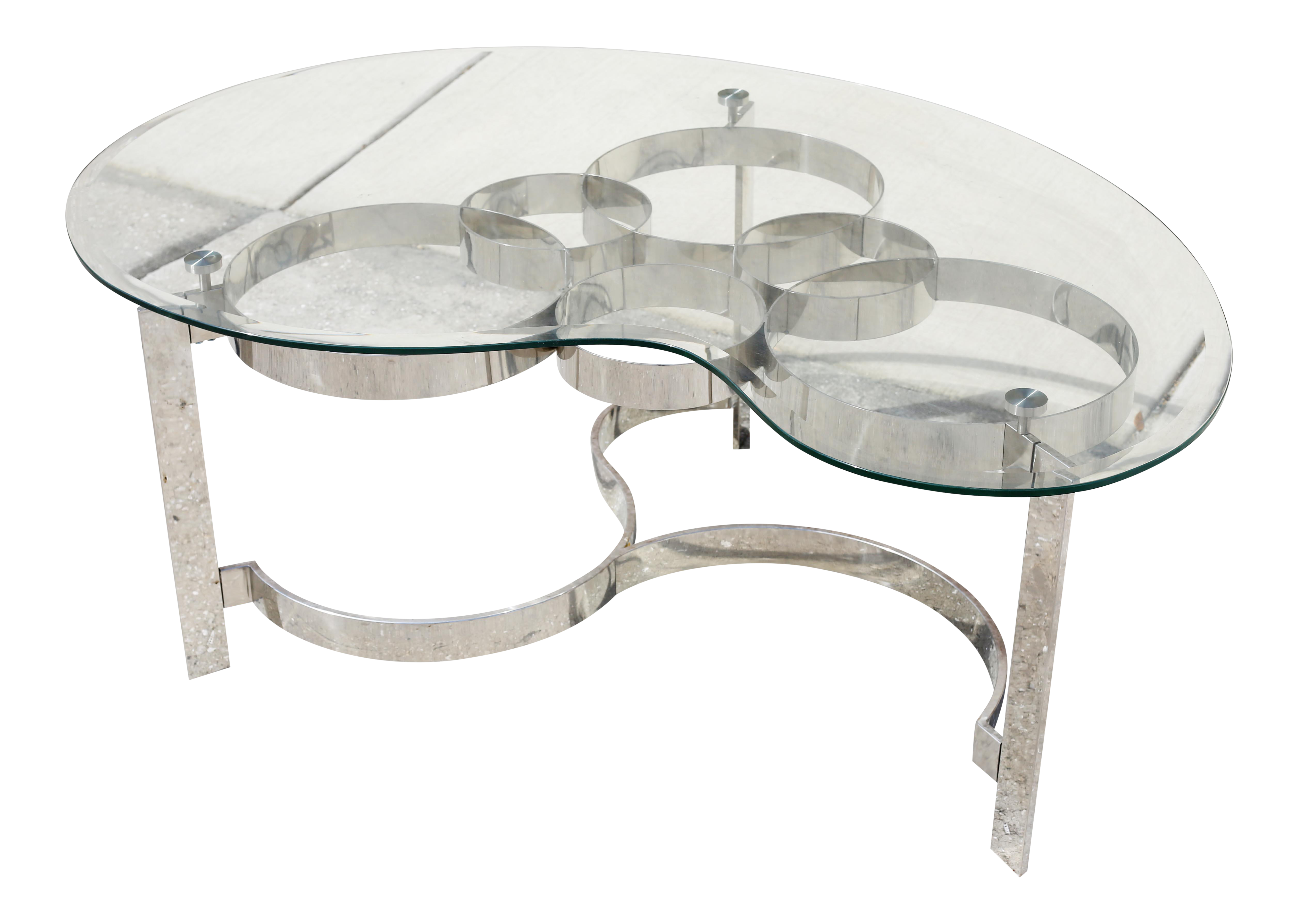 chrome circles and glass coffee table on chairish com coffee table glass coffee table table