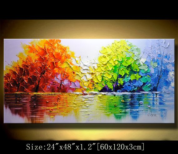 contemporary wall art,Palette Knife Painting,colorful cityscape ...