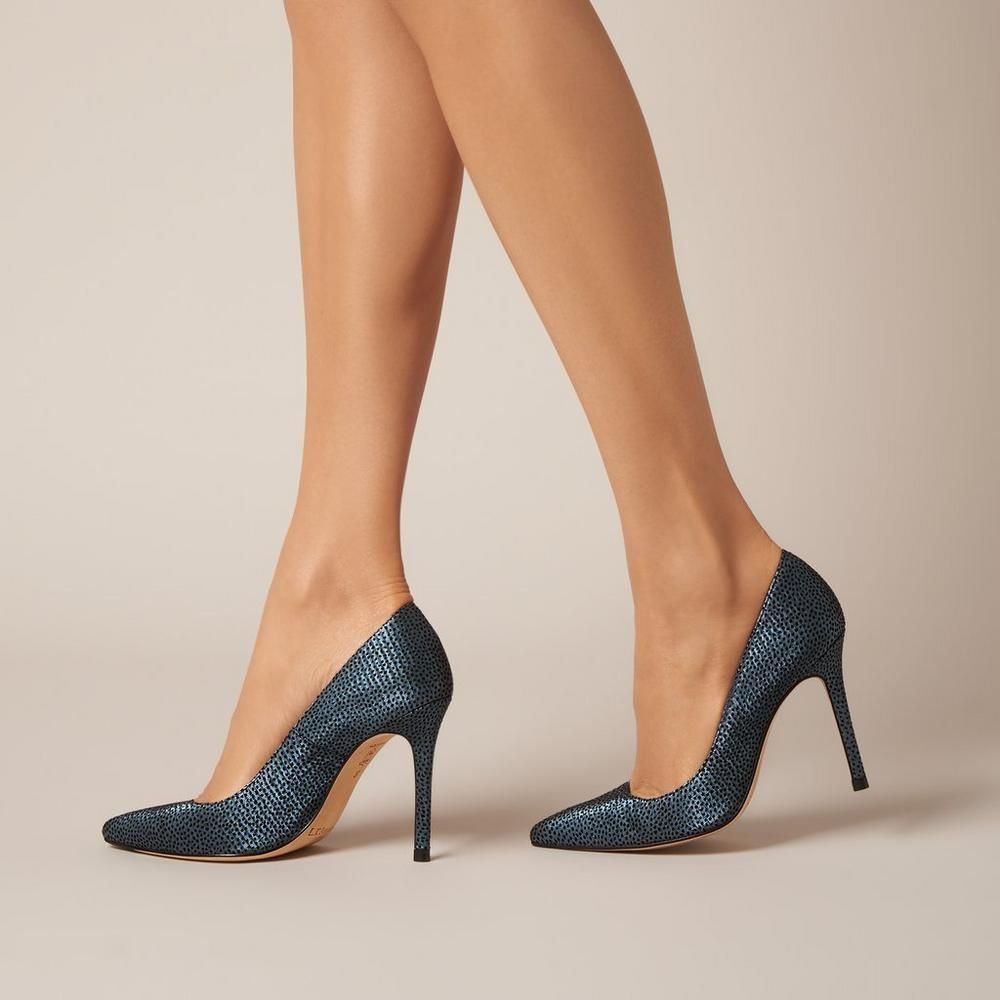 6b713a98b14f L.K. Bennett Fern Blue Metallic Flock Leather Courts. Kate Middleton wears  these in nude