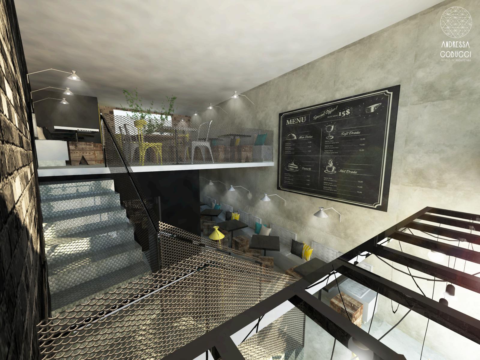 Bar estilo industrial piso e paredes com textura de for Paredes estilo industrial