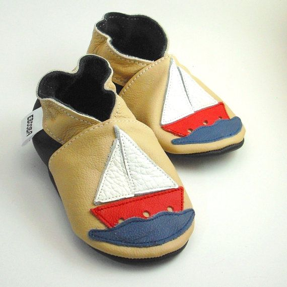 077045b61 soft sole baby shoes infant handmade sailboat beige blue by ebooba ...
