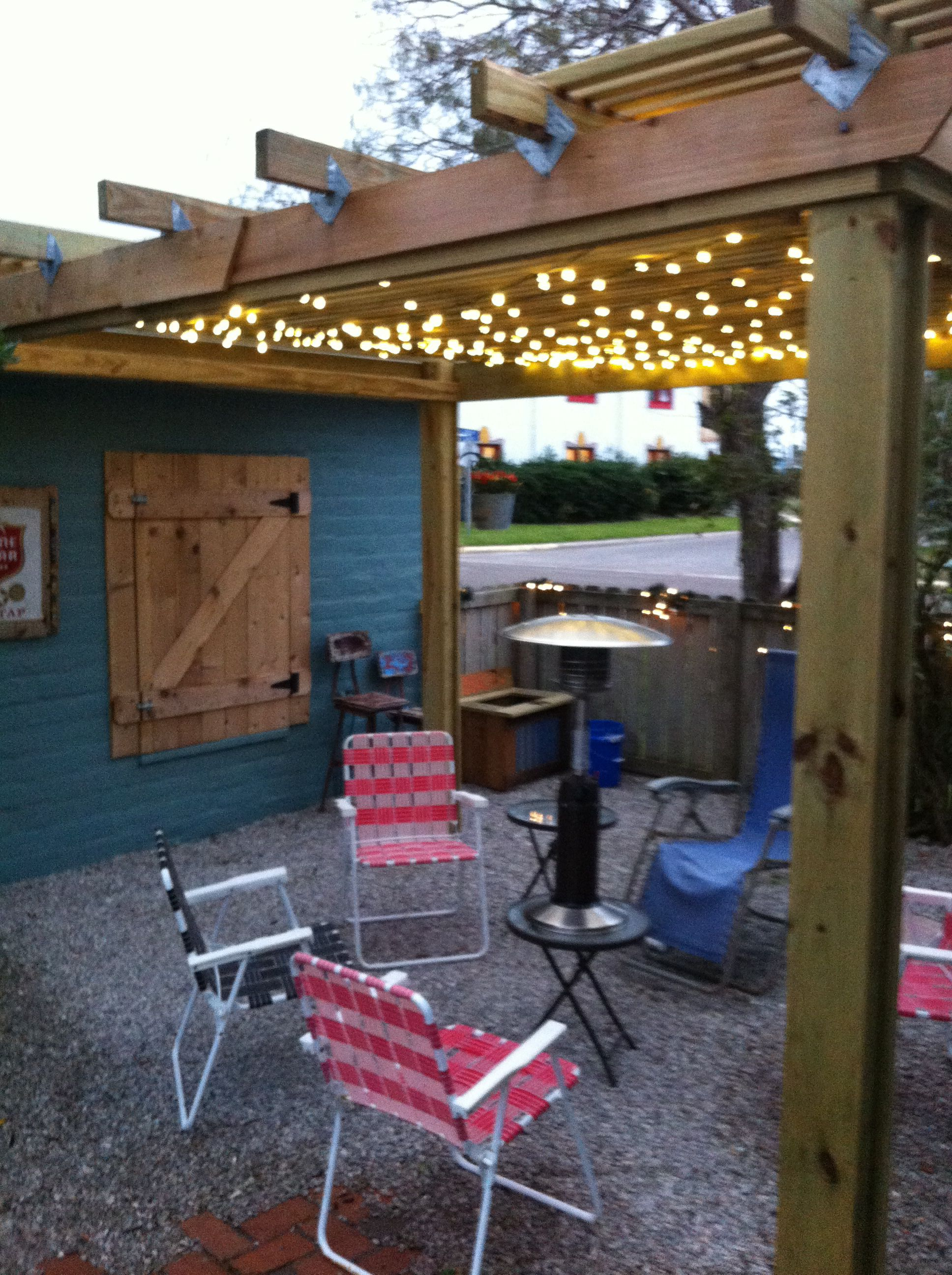 Beer garden with lights | Beer garden, Beer garden ideas ...