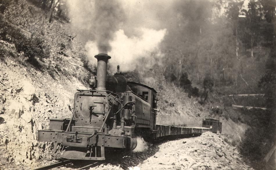 Narrow gauge railway between Moe and Walhalla in Victoria. One of four such line built in Victoria. The steam locomotive is a 2-6-2 NA class of the same type now operating on the Puffing Billy Railway at Gembrook. This is locomotive No. 1A built in 1898 and scrapped in 1929.