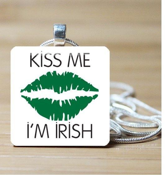 Kiss Me I'm Irish St. Patrick's Day Glass Pendant by DLRjewelry, $12.00