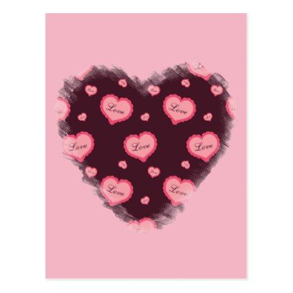 Pink Valentine Love Heart Postcard   Pink Valentine