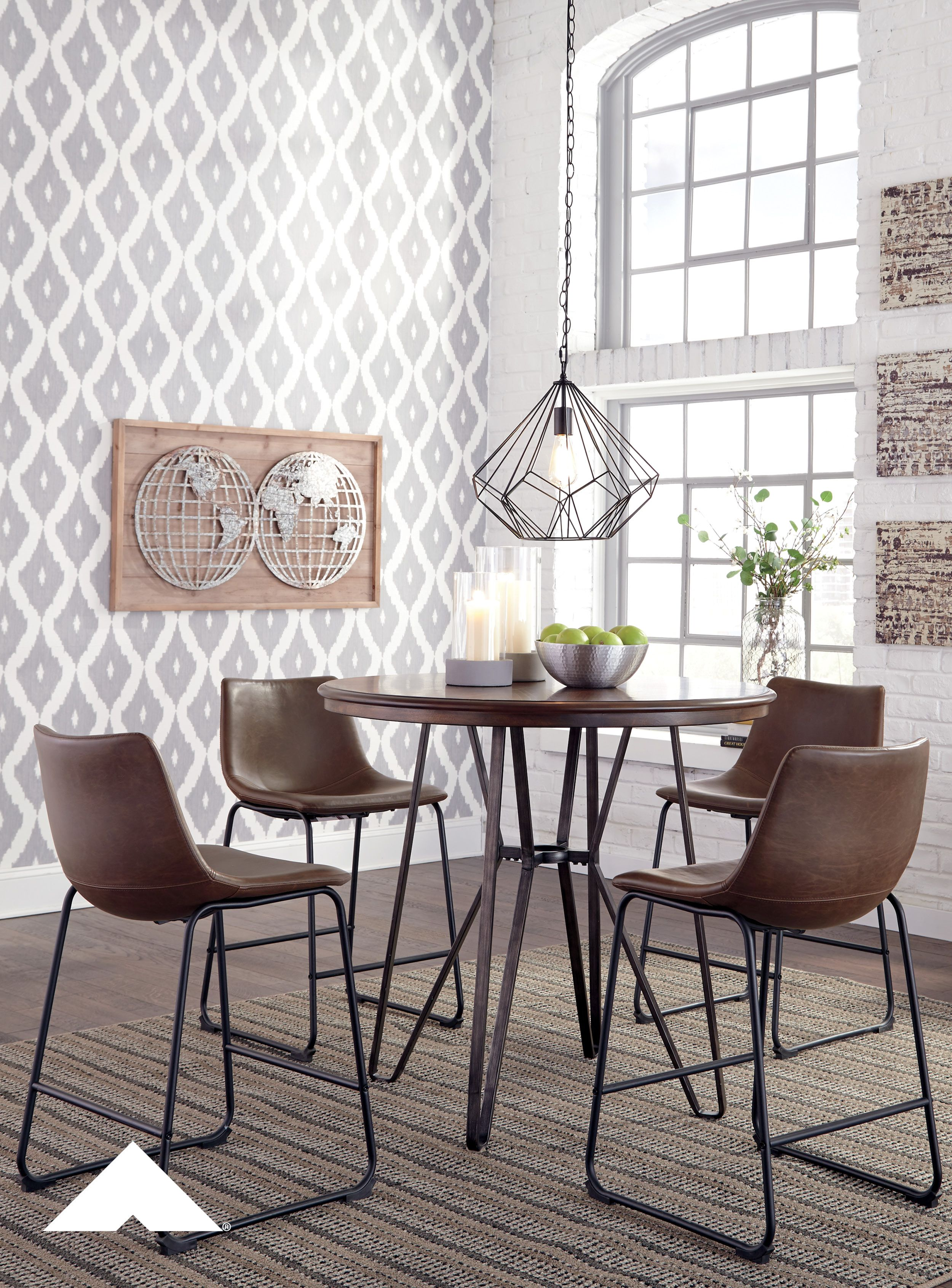 Elegant Centiar Two Tone Brown Mid Century Style Dining Room Table Set By Ashley  Furniture. | #AshleyFurniture #Homedecor #Dining #Tables #Chairs