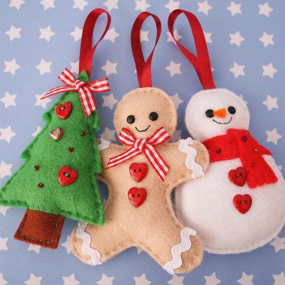 Set of 3 Christmas Ornaments Tree Gingerbread Man por hannahdoodle