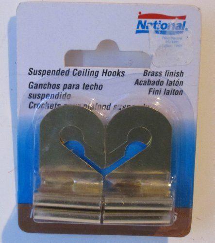 Suspended Ceiling Hooks Brass Finish Pk 4 By National Mfg