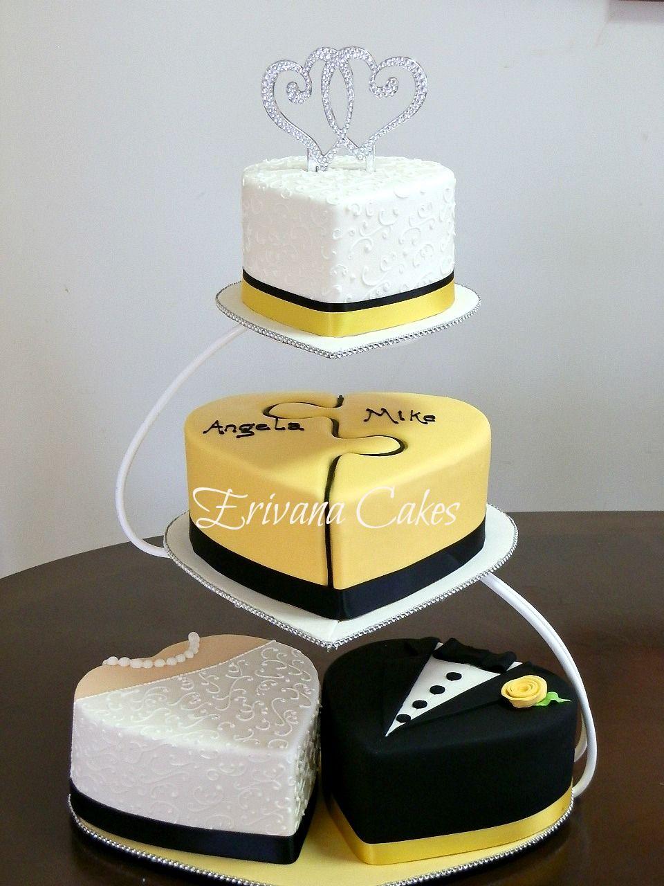 Heart Bride and Groom Puzzle Wedding Cake | Wedding | Pinterest ...
