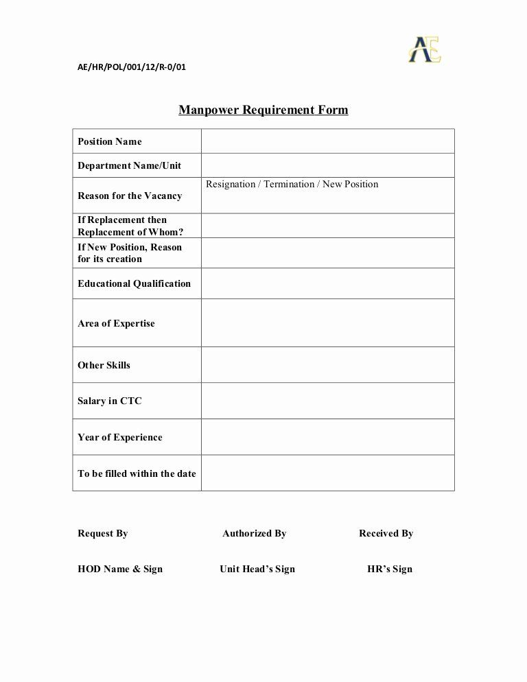 Employee Requisition Forms Elegant Manpower Requisition Form In