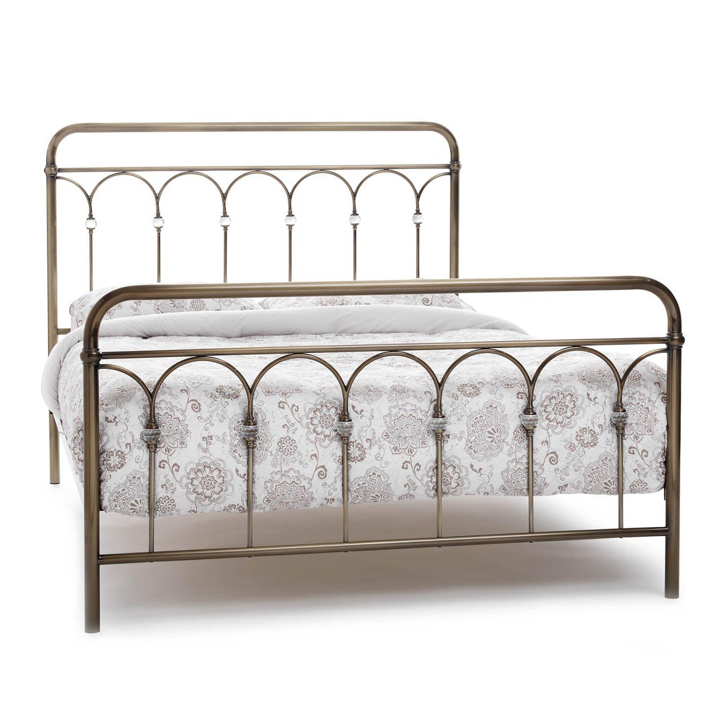 Shilton King Metal Bed Frame, Antique Brass   ACHICA   Pinterest ...