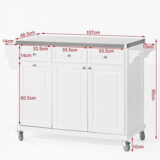 SoBuy® FKW33-W Neu Luxus-Küchenwagen mit Edelstahlplatte - küchenwagen mit mülleimer