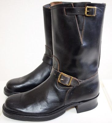 Brand Buco Circa 1940 S 1950 S Color Black Size 11d Sole Biltrite Double Half Sole Leather Elk Hardware Brass Cond Engineer Boots Boots Tanker Boots